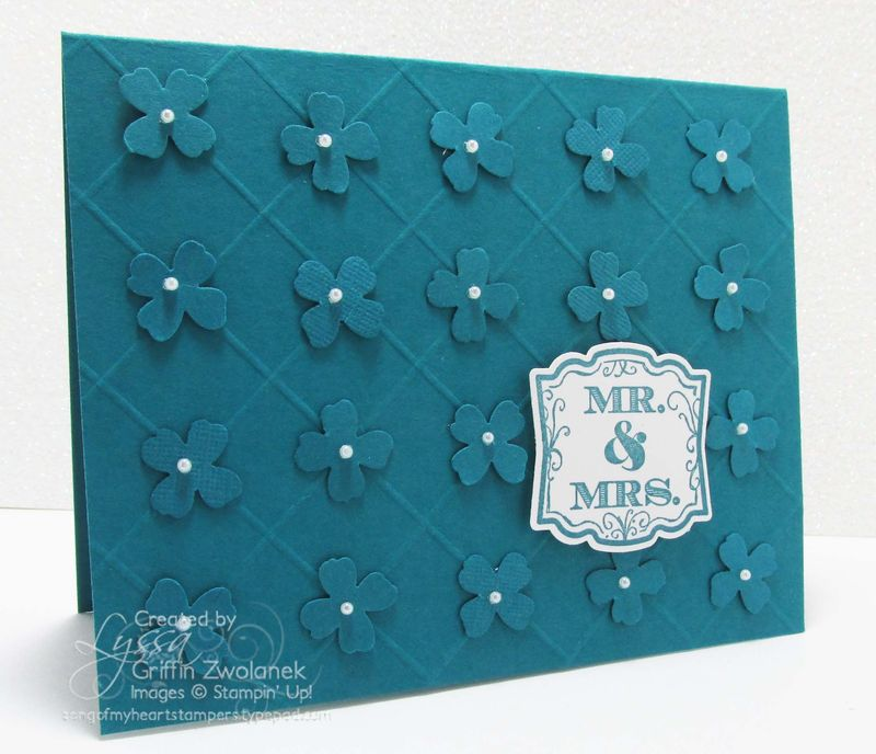 Monochromatic Wedding Card Stampin' Up scored grid punches