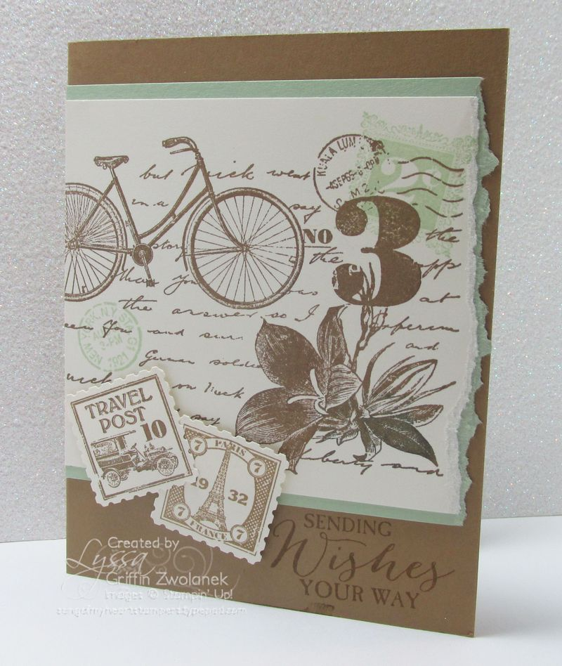 Travel Post masculine birthday card Stampin Up