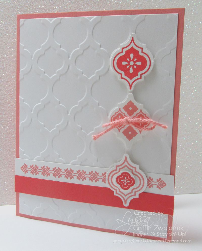 Cantaloupe and Coral Mosaic Madness Stampin Up card