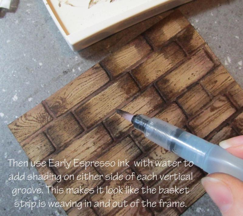 www.songofmyheartstampers.com #stampinup rubber stamping technique tutorials brick wall basket weave embossing Big Shot folder