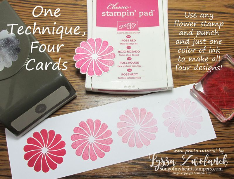 Mini photo tutorial one technique four cards www.songofmyheartstampers