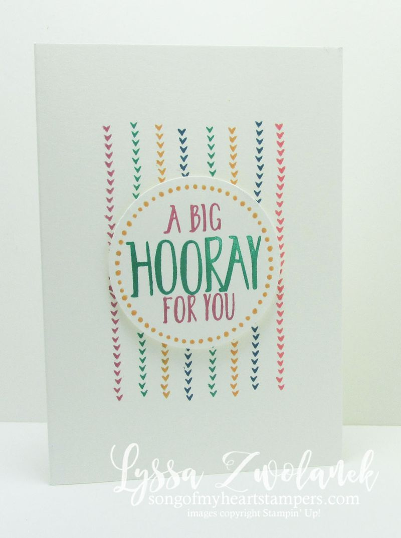 Perfectly wrapped big hooray congrats card #stampinup www.songofmyheartstampers