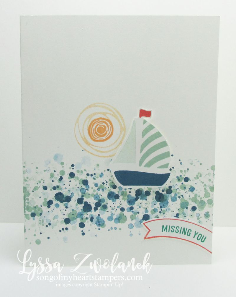 Clean and simple boat swirly card stampin up