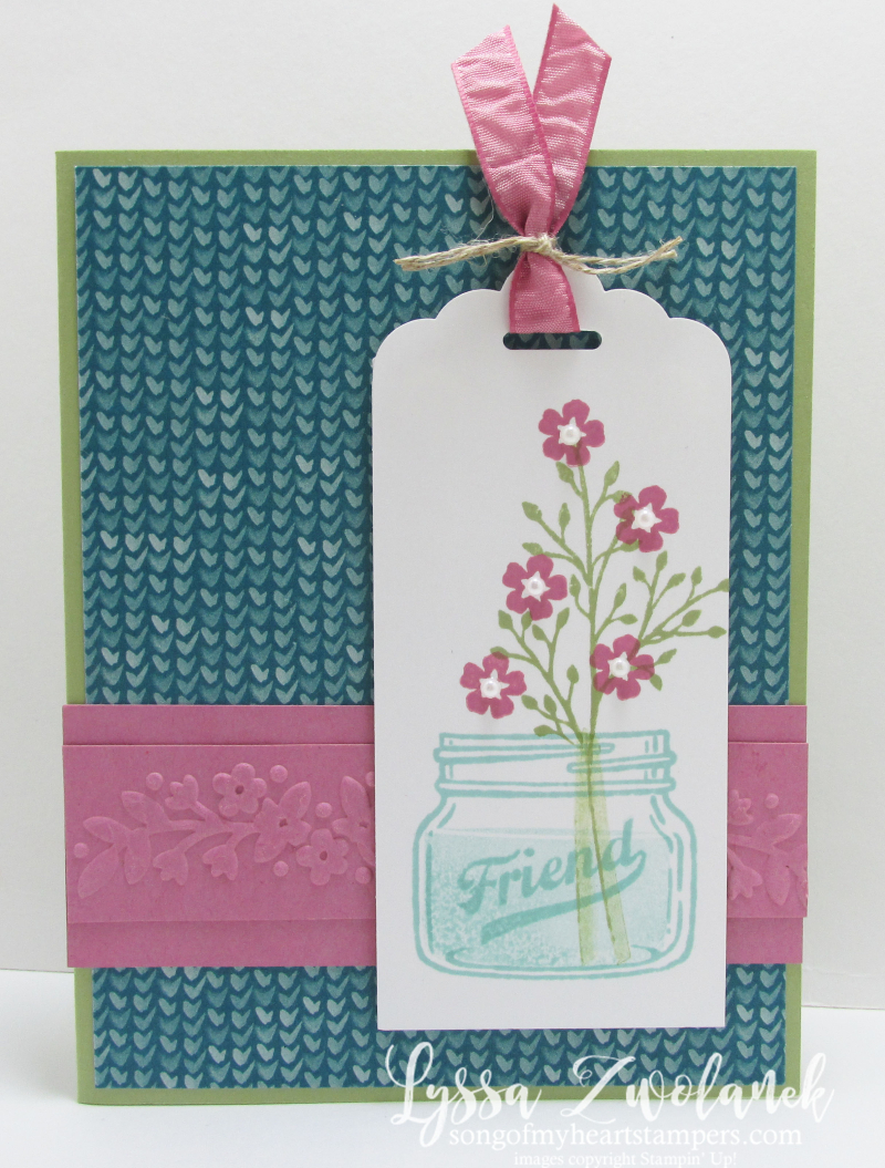 Mason jar flowers everyday friend stampin up card