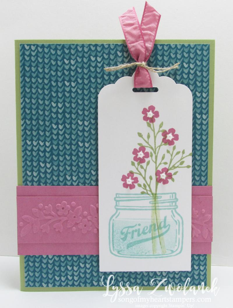 Mason jar flowers everyday friend stampin up card