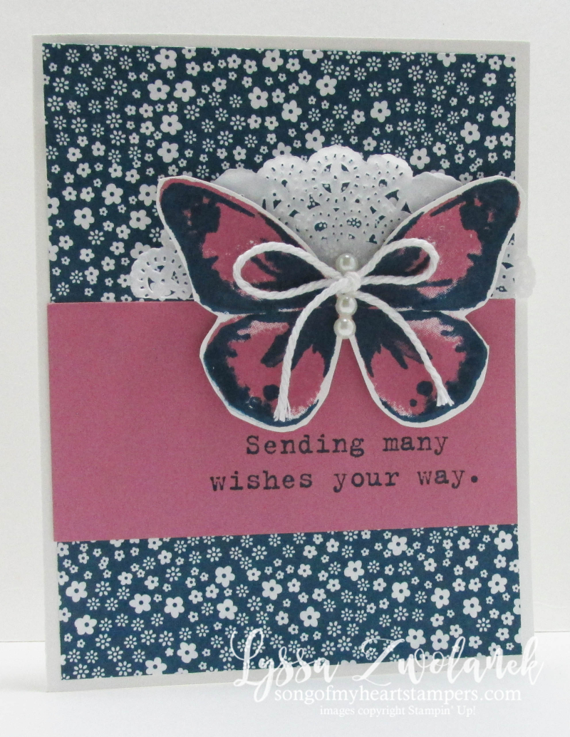 Sweet Sugarplum In Colors Dapper Denim Stampin Up Bold Butterfly framelits card