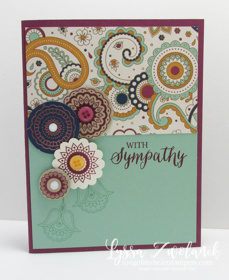 Paisleys and Posies Stampin Up  sympathy card Designer Series Paper