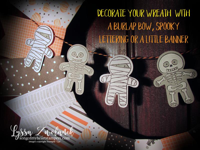 Halloween Wreath Stampin Up designer series paper spooky home decor cookie cutter punch art