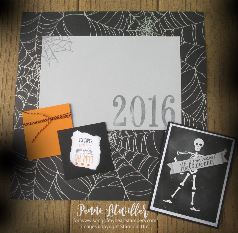 Halloween scrapbook page layout costume photos Stampin Up