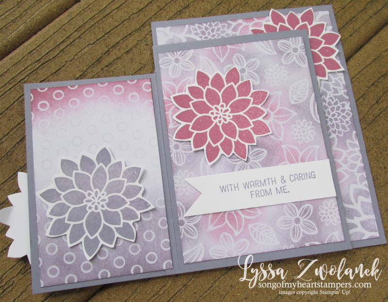 Four Fold fourfold technique card tutorial Up cardmaking Stampin sketches free
