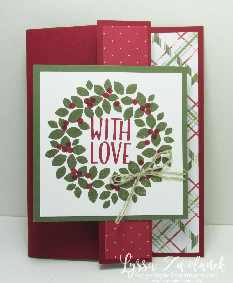Easy Fold Back Front Card Stampin Up Christmas Cards Holiday Wreaths
