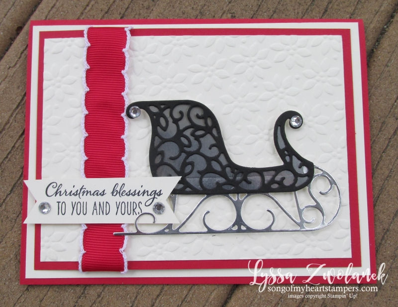 Santa's Sleigh Framelits Stampin Up DIY vanilla Christmas holiday card