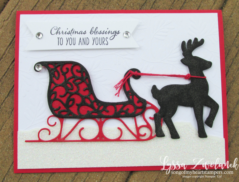 Santa's Sleigh Framelits Stampin Up DIY red black Christmas holiday card