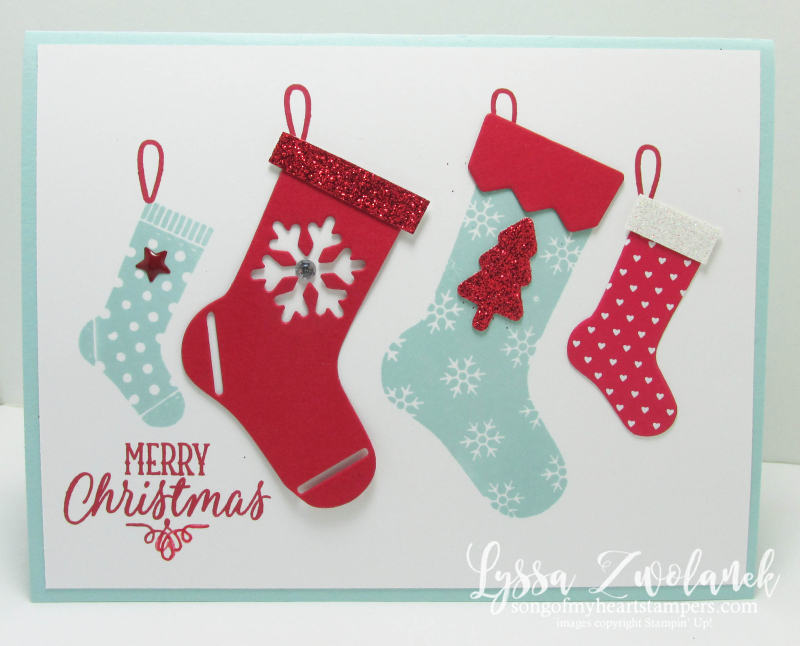 Hang Your Stocking Christmas stamp set die cuts framelits sizzix Stampin Up red glimmer pool party