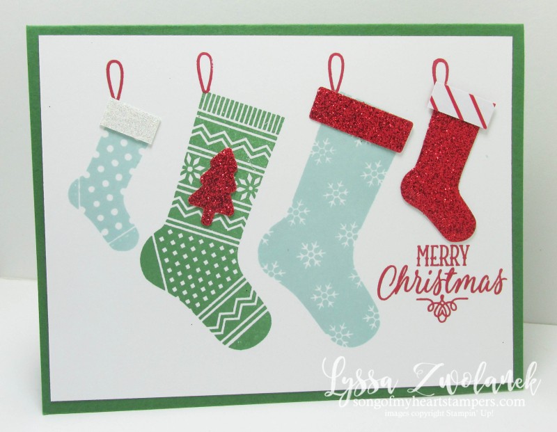 Hang Your Stocking Christmas stamp set die cuts framelits sizzix Stampin Up red glimmer pool party garden green
