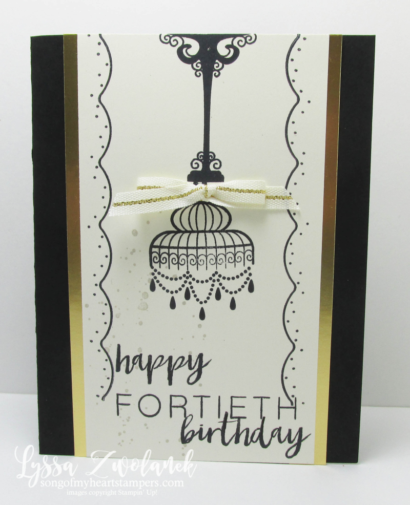 Black and Gold Chandelier Bird Cage Builder birdcage fortieth birthday card
