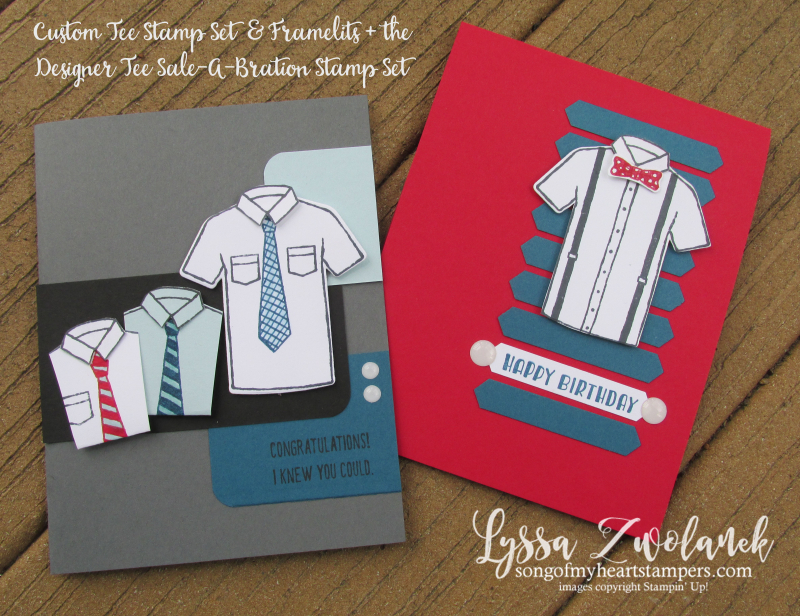 Custom Tee Designer Shirt Stampin Up Control Freaks Blog Hop tees tshirt stamp birthday boy geek tie necktie suspenders shop masculine male cards