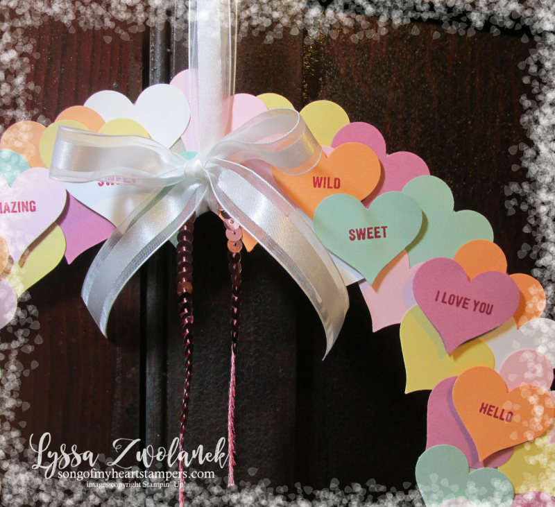 Conversation hearts Valentine heart punch valentines day Stampin Up thoughtful banners candy wreath Lyssa Zwolanek blog