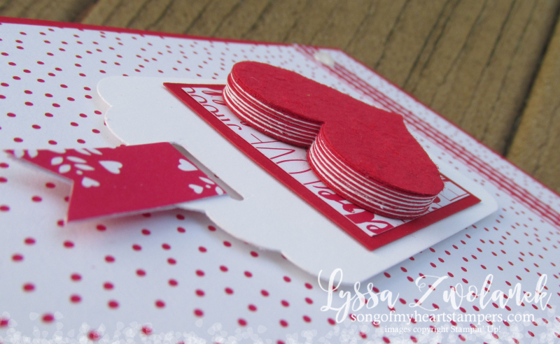 Multilayer heart embellishment Tombow Multipurpose Glue Stampin Up Sweetheart punch card Valentine