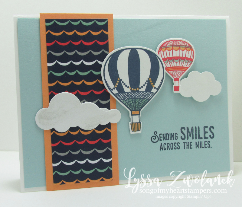 Hot air Balloon balloons sky floating rubber stamps stampin up away clouds punch art framelits
