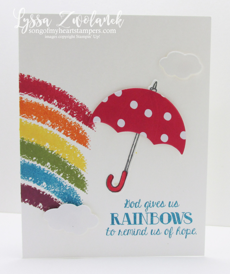 Umbrella weather rainbow hope clouds sunshine rubber stamps stampin up card
