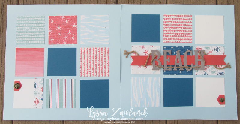 Beach scrapbook layout large letters framelits by the Shore seaside rope pool pages