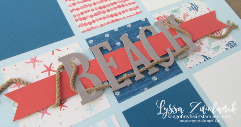 Beach scrapbook layout large letters framelits by the Shore seaside pool pages