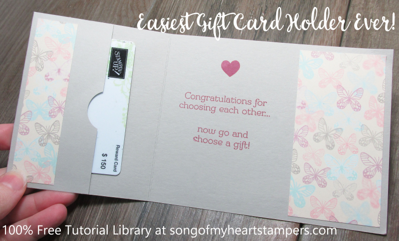 Song of my heart stampers cards gift card holder easiest gift card holder ever stampin up sale lyssa song of my heart tutorial negle