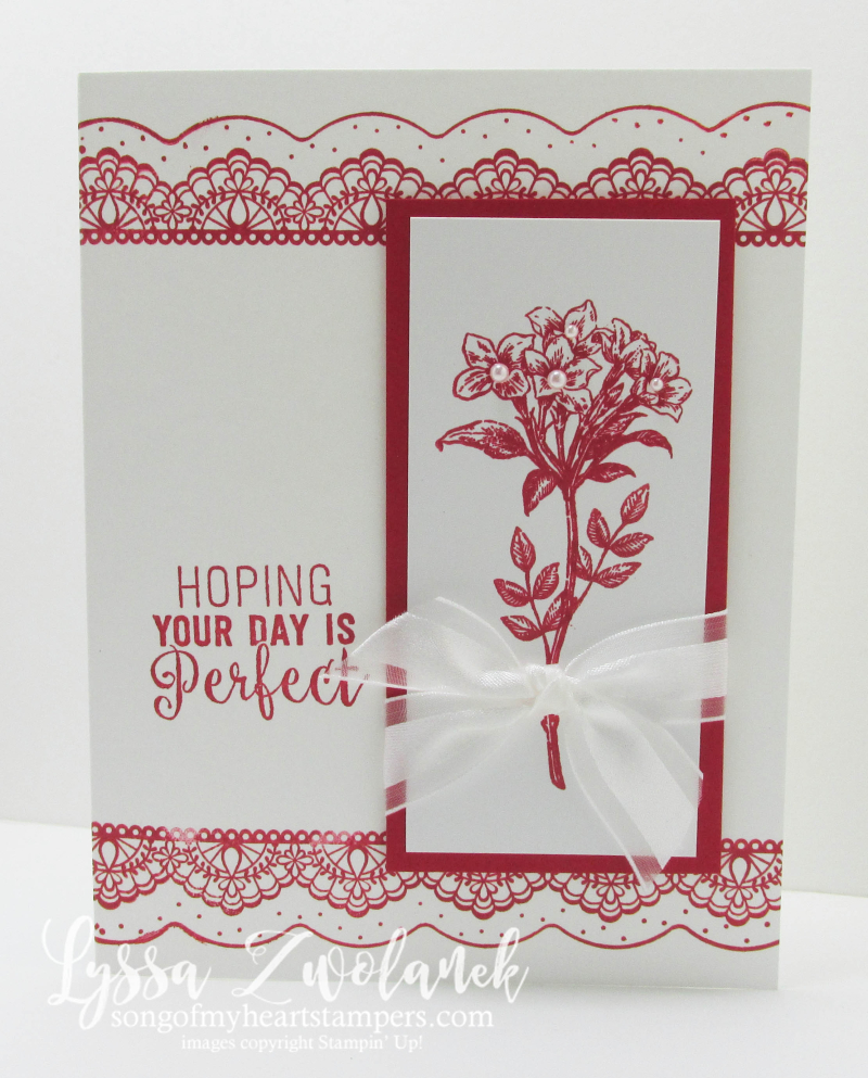 Avant garden red white delicate details stampin up Lyssa suite sentiments