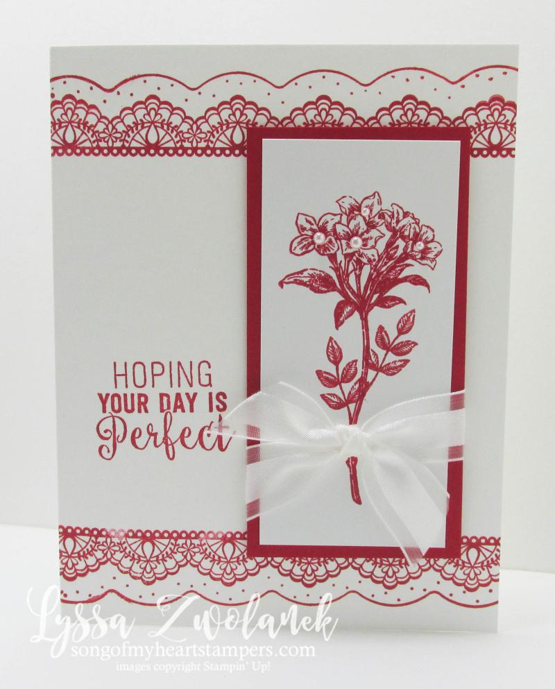 Avant garden red white delicate details stampin up Lyssa suite sentiments