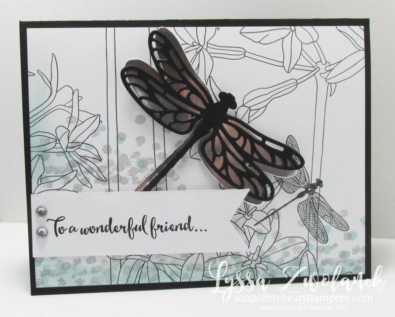 Dragonfly dreams Stampin Up inside Lines designer Series paper SAB 2017