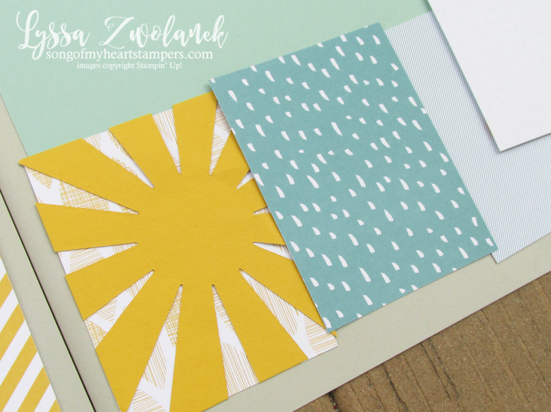 Project Life sunburst starburst thinlet Stampin Up Lyssa scrapbook scrapbooking 12x12 spread layout