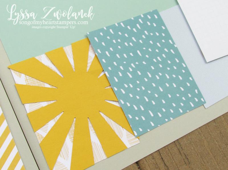 Project Life sunburst starburst thinlet Stampin Up Lyssa scrapbook scrapbooking 12x12 spread layout