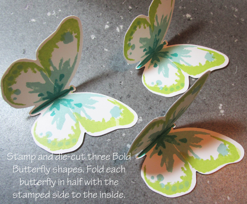 Triple Butterfly Pop Up Card free tutorial Lyssa Stampin Up technique bold butterflies rubber stamping card ideas