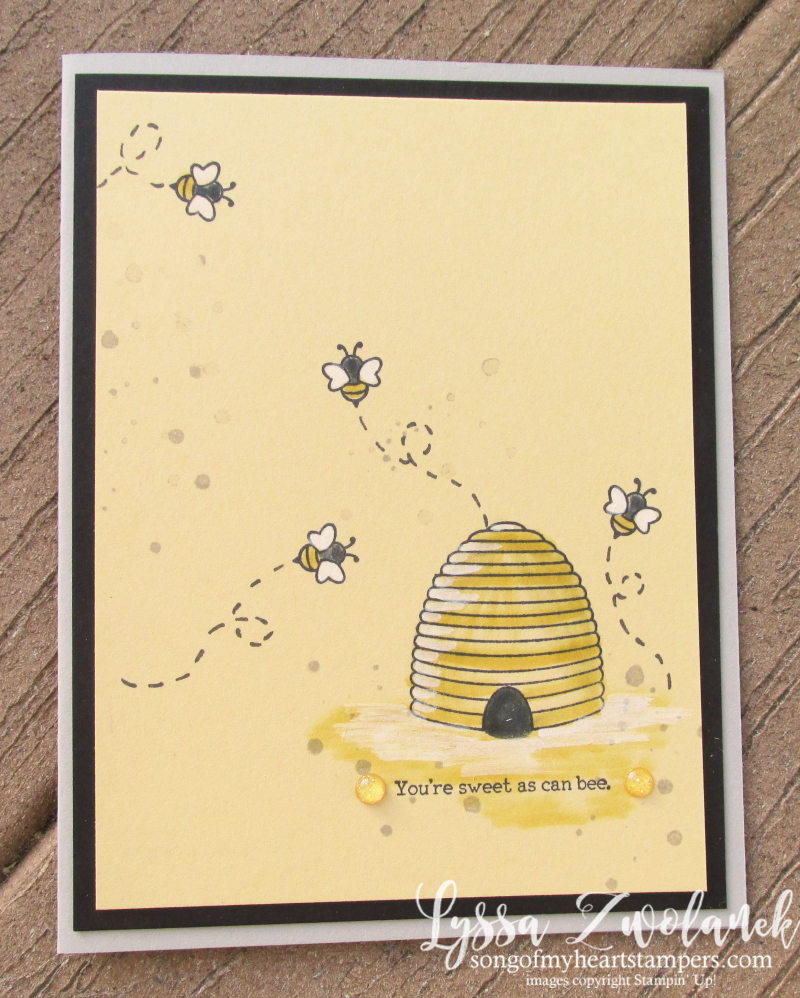 Shooting Star honeybee hive honey bee spinner slider technique cardmaking Stampin Up Lyssa
