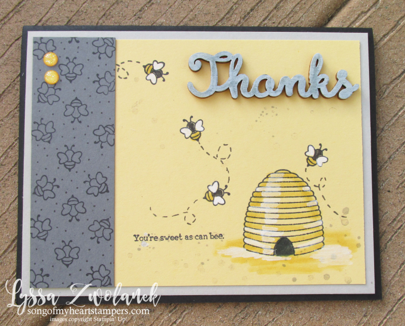 Shooting Star honeybee hive honey bee spinner slider technique DIY card Stampin Up Lyssa