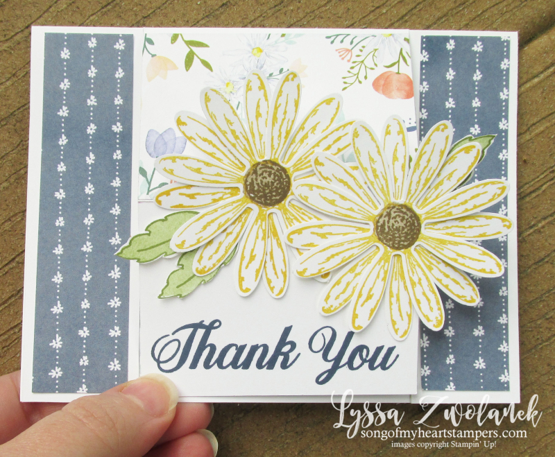 Daisy Delight Punch Stampin Up cardmaking tutorials free Lyssa Song of My Heart standup desktop cards action card