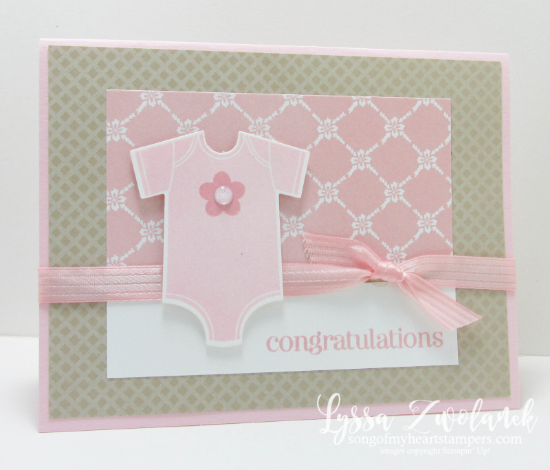 Something for Baby onesie card framelits sizzix Stampin up pink shower Lyssa new sale