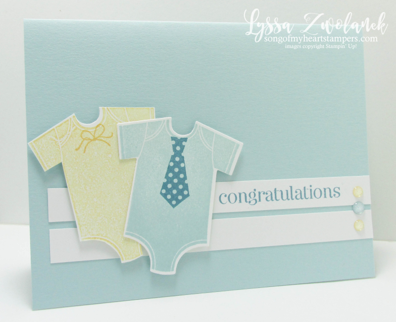 Something for Baby onesie card framelits sizzix Stampin up gender reveal shower Lyssa new sale