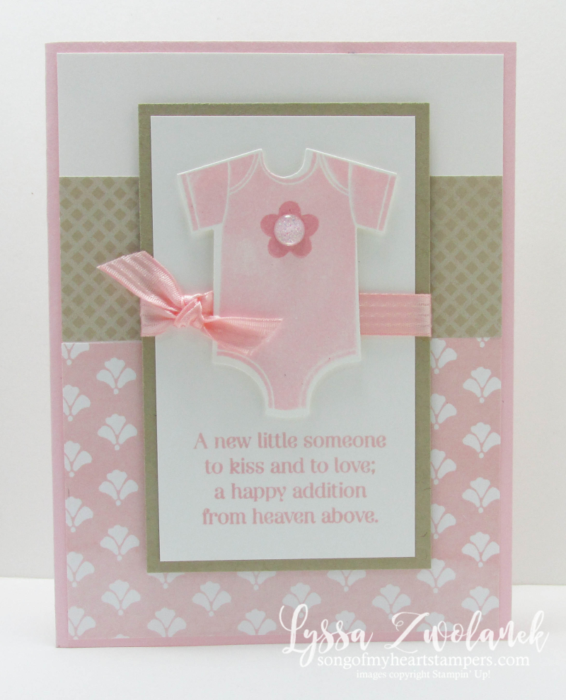 Something for Baby onesie card framelits sizzix Stampin up reveal gender girl boy shower Lyssa new sale