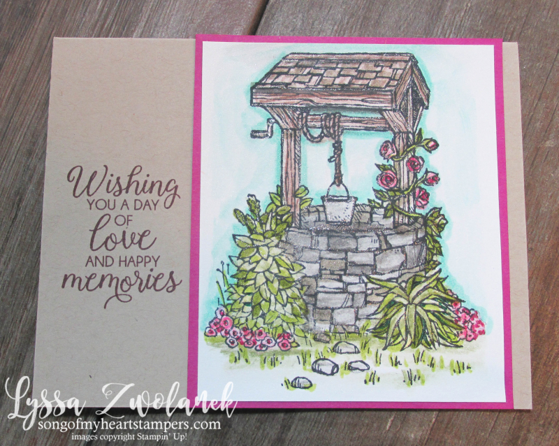 Bright Wishes wishing well Stampin Up coloring stamp sets aqua painter watercolor pencils techniques