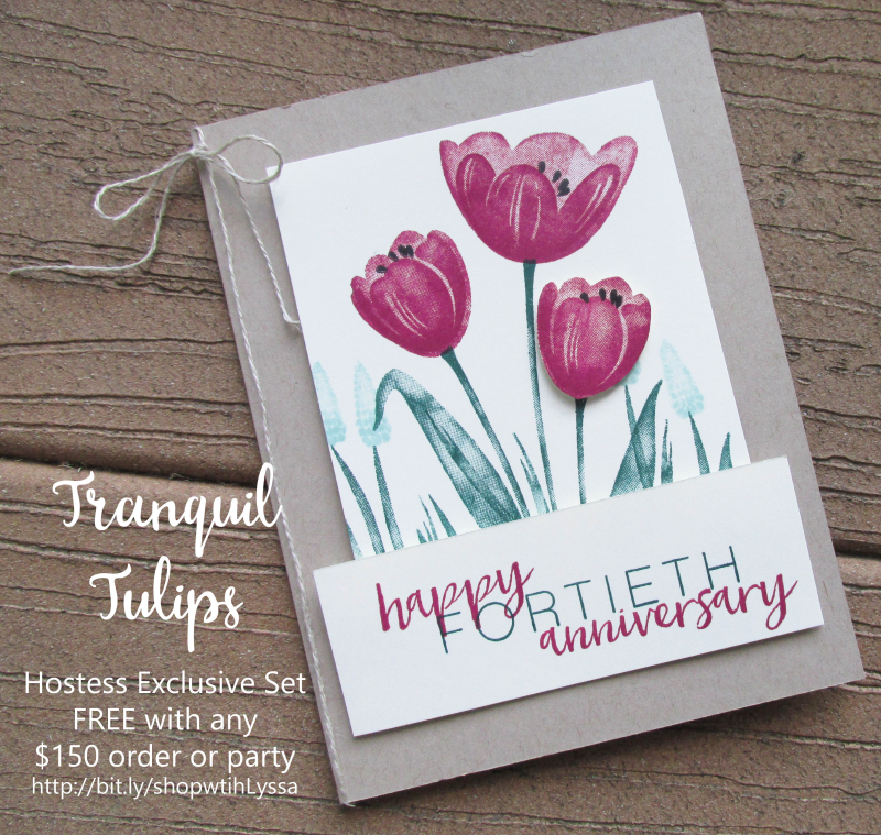 Tranquil Tulips Stampin Up shop with Lyssa hostess exclusive watercoloring techniques layouts