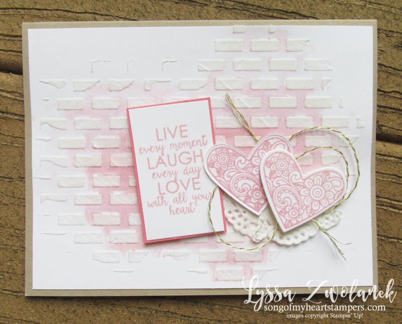 Ribbon of Courage awareness ribbons how to watercolor ebossing paste stencils Stampin Up brick wall