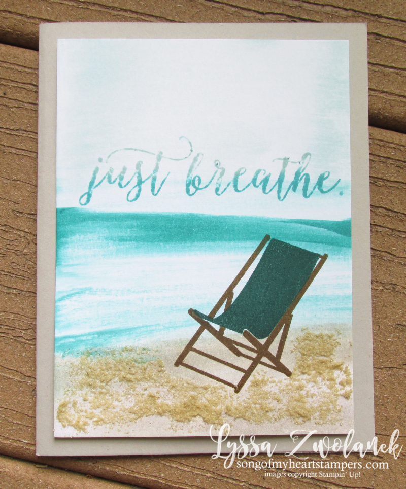 Sandy Beach technique sand glue baby wipes wave Just Breathe Colorful seasons Stampin Up free tutorial