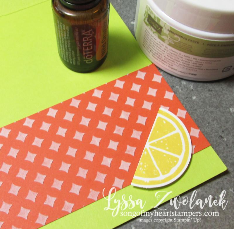 Essential oils cardmaking embossing paste technique tutorial stampin up oil Lyssa