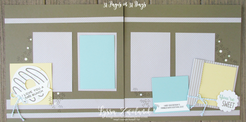 Paper Pumpkin 31 pages Days Scrapbook layout donuts donut card sprinkles Stampin Up Lyssa