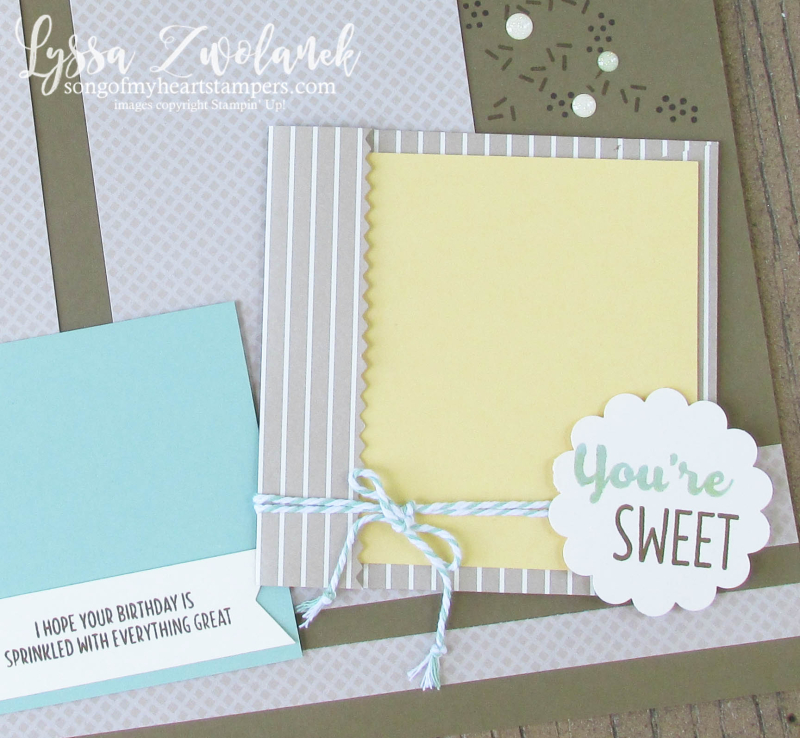 Paper Pumpkin 31 pages Days Scrapbook layout donuts donut card layout sprinkles Stampin Up Lyssa