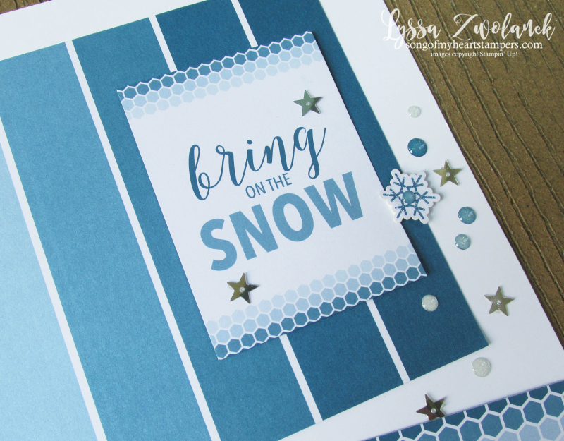 Let it Snow Christmas snowman pages stampin up 31 days scrapbooking color theory layout Lyssa