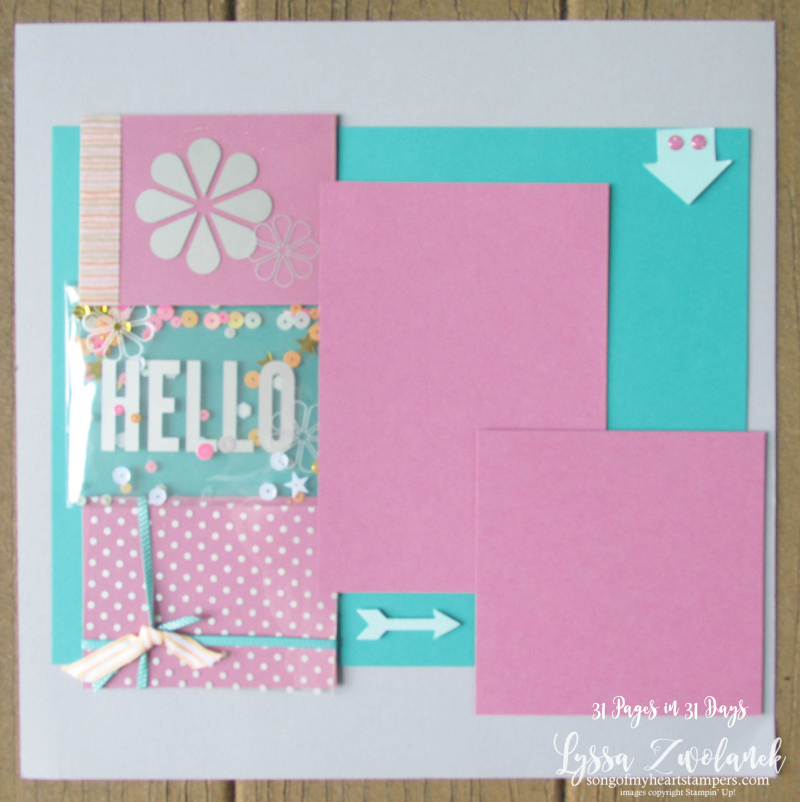 31 days pages shaker card scrapbook page layout scrapbooking summer sequin school