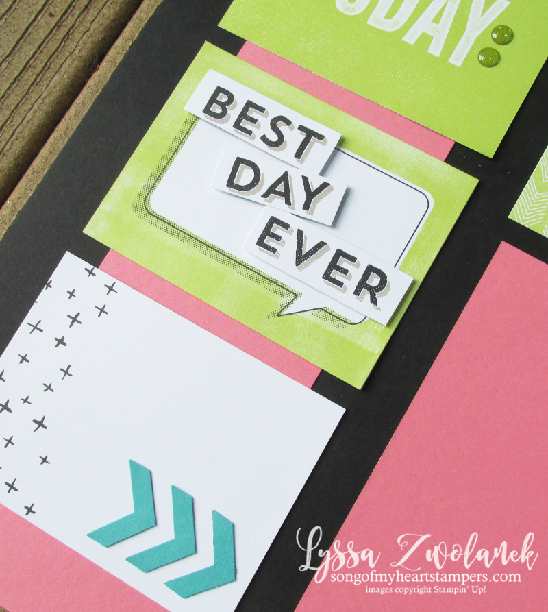 Best day ever scrapbook page 31 days pages stampin up scrapbooking Lyssa more memories sketches